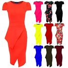 Ladies Asymmetric Neon Pencil Bodycon Knee Length Midi Women's Party Tube Dress