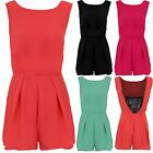 Women's Sleeveless Floral Lace Contrast Low Back Chiffon Ladies Playsuit