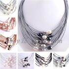 "Natural 10-12mm Freshwater Pearl 15 Row Leather Necklace 16""-22"" Magnet Clasp"