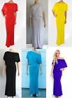 PLAIN Party Off Shoulder Boat Neck Doleman Lounge Blouson Long Maxi Dress S-3XL