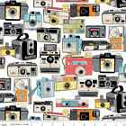 GEEKLY CHIC 2 - RETRO CAMERAS - WHITE - RILEY BLAKE COTTON FABRIC KITCH ANTIQUE