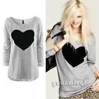 Fashion Autumn Women Cotton Gray Heart Print Casual T-Shirt Top Blouse Pullover