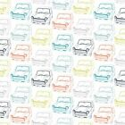 NOVELTY - VROOM  CARS - MINIS ON WHITE  - DASHWOOD STUDIO COTTON FABRIC