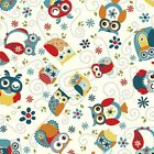 NESTED ALL AROUND OWLS - CHARCOAL - ADORNIT 100% COTTON FABRIC stunning design