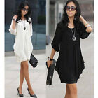 Summer Fashion Womens Short Sleeve Chiffon OL Mini Dress Casual Party Dress