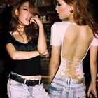 New Women Clubwear Sexy V-Neck Cross Backless Tops Tees Lady Solid Slim T-Shirt