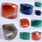 Carved solid agate Faceted ring Red Blue Green Grey