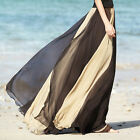 Vintage Women's Soft Chiffon Contrast Elastic Waist Maxi Full Boho Skirt Dress