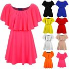Women's Frill Off Shoulder Celeb Inspired Summer Flared Ladies Short Swing Dress
