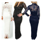 Vintage V-Neck Lace Evening Slim Prom Dresses Long Bridesmaid Dress Wedding Gown