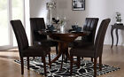 Dark Hudson & Carrick Round Extending Dining Table and 4 6 Chairs Set (Brown)