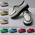 Womens Faux Leather Platform Lace Up Flats Creepers Punk Work Shoes Size Uk 2-9