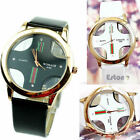Lover Couple tables Stylish Skeleton Cross Dial Faux Leather Quartz Analog Watch