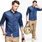 Trendy Men's Fitted Denim Cotton Botton-Front Long Sleeve Casual Shirts Tops JS