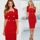 Womens Elegant Square Neck Double-breasted Bodycon Cocktail Tunic Pencil Dress