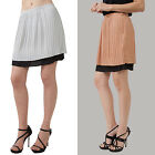 Above knee mini pleated fully lined skirt Solid Silver Copper Wear to Work S,M,L