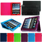 Folio Leather Stand Cover Case + Bluetooth Keyboard for Apple iPad 1 1st Gen