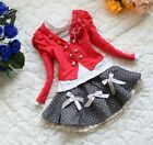 Casual Baby Girls Rose Bud Brooch Coat+T-Shirt+Bow Skirt Kids Sets Formal Suits