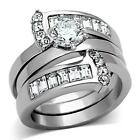 Women's Stainless Steel Round & Baguette cz Wedding 2 PC Center Band Guard Set
