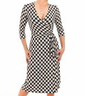 Just Blue - New Black and Ivory V Neck Printed Wrap Dress