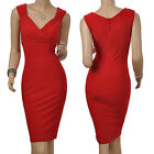 Red Sexy Bodycon Occident Celebs Elegant V-Neck Fitted Elastic Dress S M L 2XL