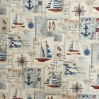 Sailing Souveniors Letters And Post Cards Cotton Linen Look Upholstery Fabric
