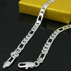 925Sterling Silver Jewelry Noble Flat 3 space 1 Chain Men Necklace 6MM N032