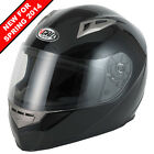 VCAN V158 GLOSS BLACK MOTORCYCLE MOTORBIKE FULL FACE HELMET WITH ACU GOLD