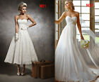 2014 STOCK Long/Short Elegant Vintage Bridal/Wedding Dress Size 6 8 10 12 14 16