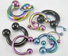 1 Pair Titanium Anodized Horseshoes Barbell Nipple Ear Rings Lip Gauges image