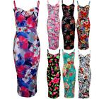 Women's Knee Length Midi Strappy Flower Floral Print Ladies Fitted Bodycon Dress