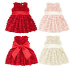 1 New Girls Baby Rose Flower Party Wedding Pageant Christening Lovely Sun Dress