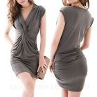 Work Bodycon Grecian V Neck Womens Tulip Mini Dress Prom Ladies Dresses 6 8