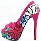 Multicolored Floral Bow PeepToe Platform Stiletto Party Pump Size 4/5/6/7/8/9/10