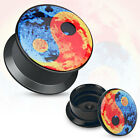 New Acrylic Novelty Colourful Ying Yang Ear Tunnel Plug Various Size's