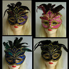 MASK Eye Venetian Feather top  Black Blue Pink or Purple Masquerade Costume