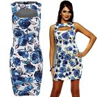 Ladies Celeb Inspired Amy Floral Stretch Slim Bodycon Cut Out Women's Dress 8-14