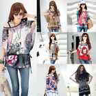 64 Pattern Floral Print Batwing Short Sleeve Loose T Shirt Blouse Top Mini Dress