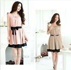 Womens Lady Korean OL Pink/Khaki Flouncing Sleeve Short Sleeves Pleated Dress