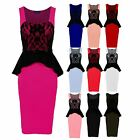 Women's Belted Sleeveless Wrap Peplum Lace Contrast Ladies Bodycon Dress