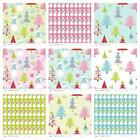CHRISTMAS BASICS TREES & SNOWMEN - RILEY BLAKE COTTON FABRIC pink blue green