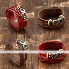 Metal Cross Multilayer Leather Braided Wrap Surf Wristband Cuff Bangle Bracelet