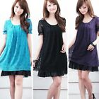 New Summer Women Lace Hollow Short Sleeve Mini Dress Casual Party Cocktail Dress