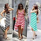 3 Color Summer Womens Lady Sleeveless Asymmetric Striped Casual Sundress Dress S