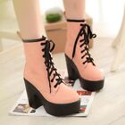 Womens Punk Round Toe Lace Up High Platform Chunky Block High Heels Boots Shoes