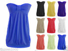 New Womens Ladies Front  Knot Strapless Summer Bandeau Boobtube Top Plus Sizes
