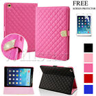 CRYSTAL DIAMOND QUILTED STAND LEATHER MAGNETIC CASE COVER FOR APPLE IPAD + FILM