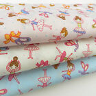 "PER 1/2 metre ballerina dancing fabric 112cm 44 "" wide  100% cotton poplin"
