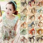 2014 New Women Fashion Rabbit Ear Chiffon Floral Dots Hair Accessories Headband