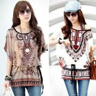 Fashion Women Floral Printed Short Sleeve Casual Loose T-shirt Blouse Tops Shirt